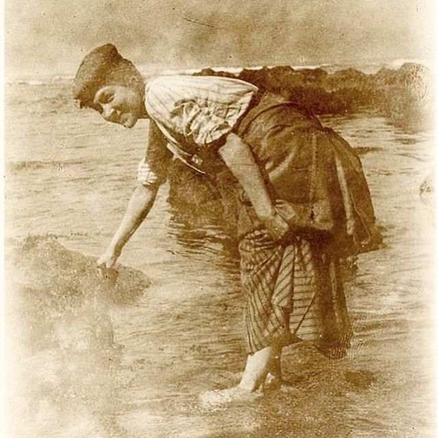 """My great-grandmother, Mary Graham, on the Berwickshire coast in Scotland, circa 1905. She emigrated from Scotland to Napa Valley in 1895, returning to visit just once. I was pleased to find out that she was as forthright & unwilling to take any shit as I am, as evidenced by this diary entry: . """"We knew if we waited we might get into Berwick late & be unable to reach Burnmouth that night. A nice looking old guard told us the 3:20 stopped at Berwick & if we made a rush, we might be able to get on. So we made a rush & couldn't get into anything but a smoker with three men in it. One of them asked us if we knew it was a smoker. We told him we knew but wanted to reach Berwick in time to catch the B train. They said we were perfectly welcome and made room for us. One in particular got quite chatty. I was obliged to begin to read as I didn't want him to get too friendly. He read awhile. Then the other two men asked him if he would come and help find the Duke. It seems that the Duke of Northumberland was aboard the train. After seeing him they smoked in the corridor which was very kind. Presently he came back and sat down by me. I was very busy reading. He tried to get up a conversation but couldn't as we wouldn't say much. When we were coming to the bridge he said """"Ah we are getting near the sea. I suppose you are glad."""" Then he asked me if I knew the border bridge. I told him I had seen it often. So we chatted till we got to Berwick. He helped us with our bags. Then we lost him. Jean left me to watch our baggage while we went for sweets. I saw him looking for us but kept my head turned. He coughed. I was obliged to turn then, and said Hello. Did you find your baggage all right? He said that it came very near going on to Edinburgh. Then he asked me if he might leave his wraps near ours. Then wanted to know if I would take a turn. I said I would rather sit still as I was tired. When Jean came back, how she stared. Several ladies passed, bowed to him, and gave us a good star"""