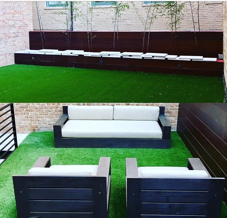 Rooftop patio with turf grass