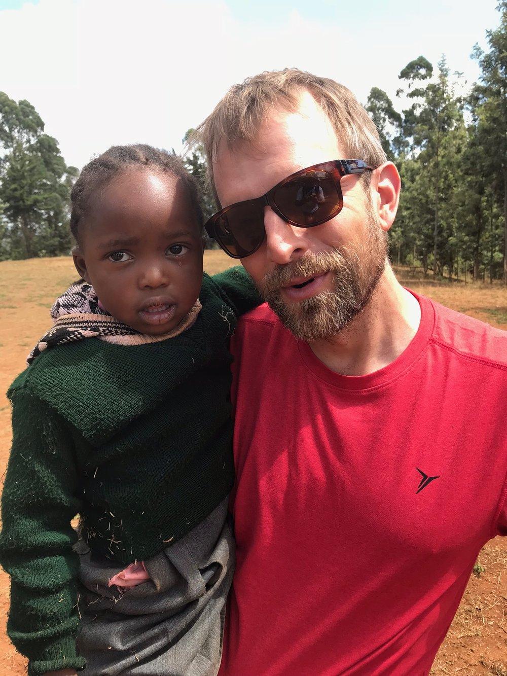 Jerod Ridge  and friend in Theri, Kenya in 2018.