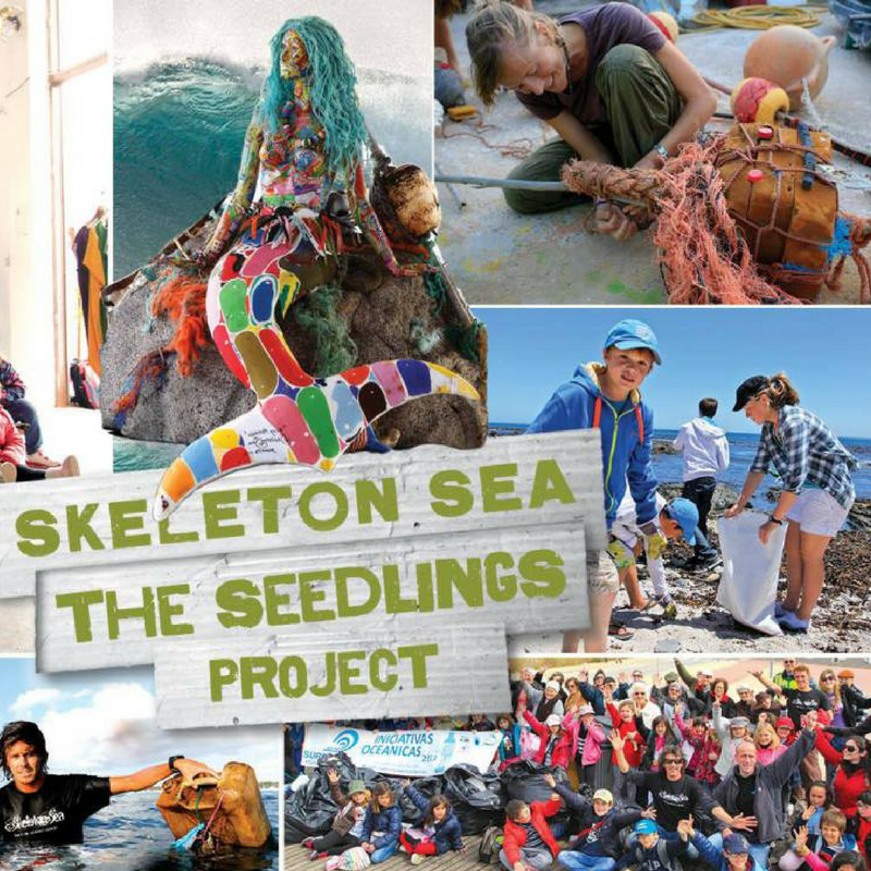 Skeleton Sea - This is a beach clean-up project with an educational component. Launched by three surfers in Portugal who were disheartened by the amount of trash they ran into while surfing, they collect trash and create art while educating youth about issues affecting the Ocean.Through its 'Seedlings Project', Skeleton Sea organizes collective beach cleanups with youth, teaches them how to assemble what they find into works of art culminating in an art exhibition that promotes and improves Ocean literacy levels in the Portuguese Educational Community. Their broader goal is to inspire a global audience through the project.