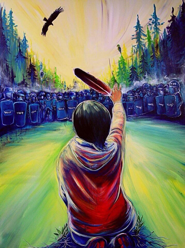 Water Protectors, Not Protestors - I created this piece out of the emotions I felt when I witnessed the violence towards the Elsipogtog community and read the media's biased portrayal of the event. I was really moved by the way people honoured the land and water, standing up for everyone.Often in media coverage of such events we hear that peolpe are 'protestors' - I dont like the term protestor. I feel when people stand up like this they are exercising their responsibility to protect the relationship to their territories. Sometimes I find the way people tell the story influences how people will see an event and I really wanted to paint the strength and beauty found in enacting traditional laws and responsibilities, to show that there is medicine in the strength of the people.That is why I painted plants growing out of the concrete under Amanda - because each time people assert their responsibilities to make things right - to stop destructive corporations - life is allowed to continue its cycle and growth. This painting was a humble way in my heart to show gratitude to what the Mi'kmaq people did for all of us living!- Fanny Aishaa, artisthttp://www.fannyaishaa.com