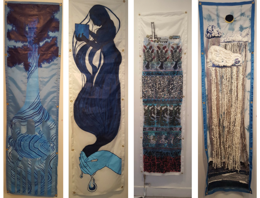 Four tapestries from    Water Advisory!   , showcased at the 2018 Water Docs Film Festival.