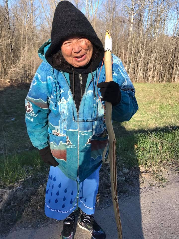 """Obi Wan Kenibi Kwe"" - Grandmother Josephine Mandamin - (1942-2019)   Biidaasige (She Who Comes with the Light), from Wawaazisii Doodem (Bullhead Clan)  Photo Credit: Tasha Beeds"