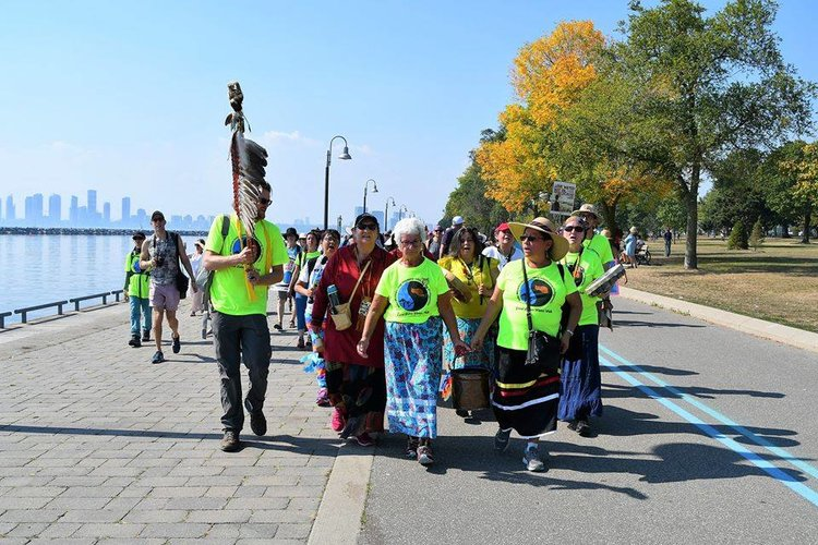 The Great Lakes Water Walk, 2017. The largest sacred water walk thus far, inspired by Grandmother Josephine Mandamin.