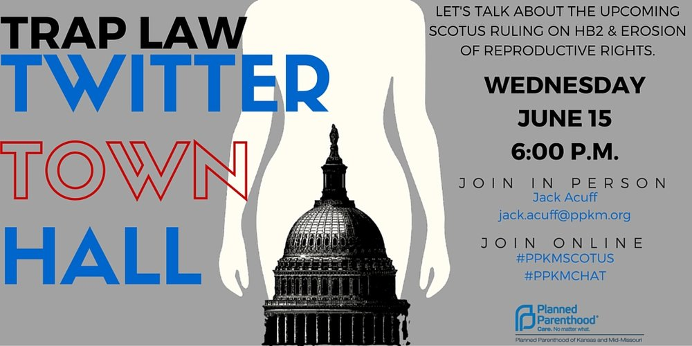 TRAP law town hall invite with Planned Parenthood