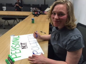 Jackie at Planned Parenthood Headquarters making signs for the Supreme Court rally on March 2, 2016.