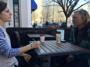 Jackie meets with reporter, Alex Zielinski with Think Progress.