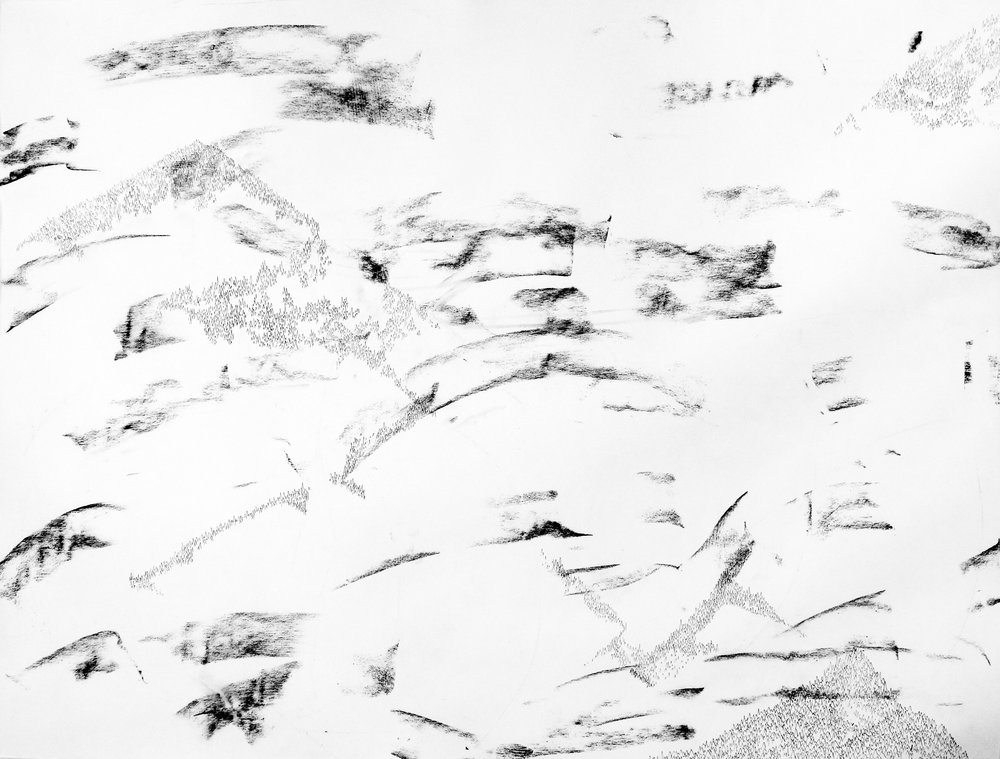 Broken Systems explores the deconstruction of landscapes through memory and how place intersects with abstraction.    Broken Mountain  Systems Series - Landscapes, 2017.  4'x3' Ink and charcoal on paper.  ©kellycorrell