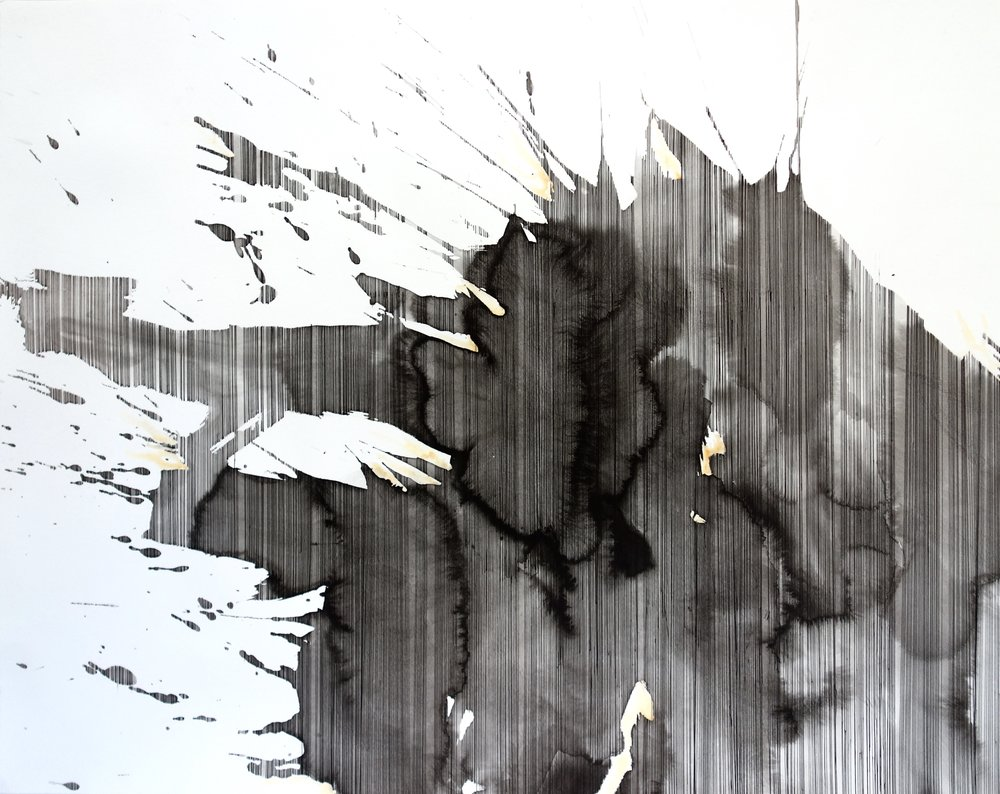 """Dark Roots  Systems Series - Landscapes, 2015.  36"""" x 24"""" Ink and chalk on paper  ©kellycorrell"""