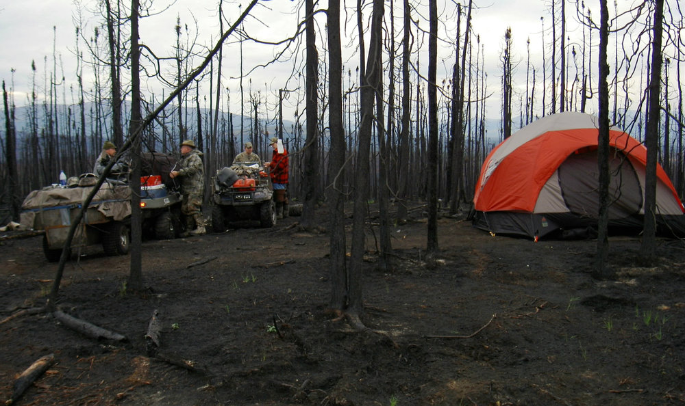 Bogged down in the burn area, the group camped overnight on their way to Moose Valley