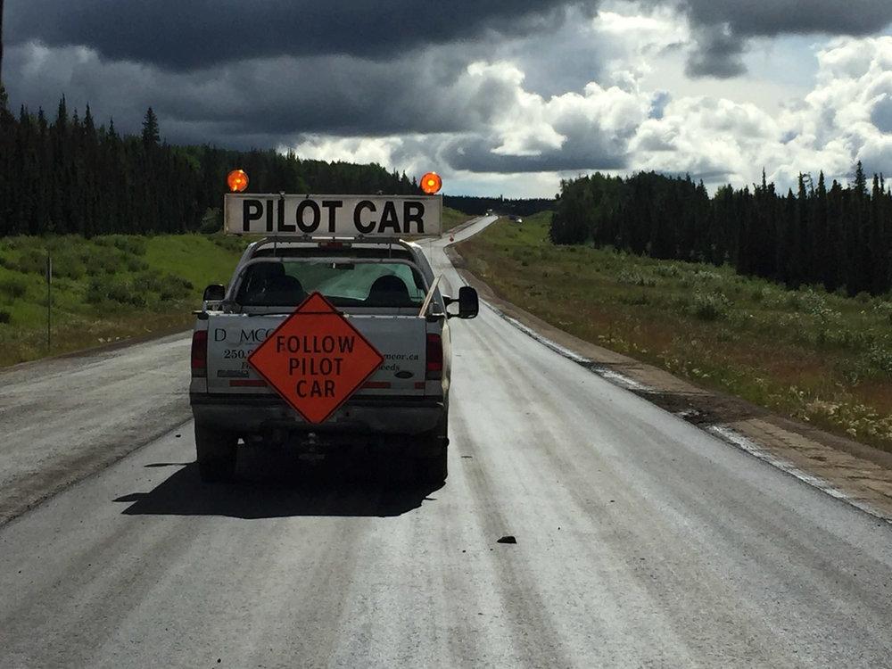 pilot car on Alaska Highway
