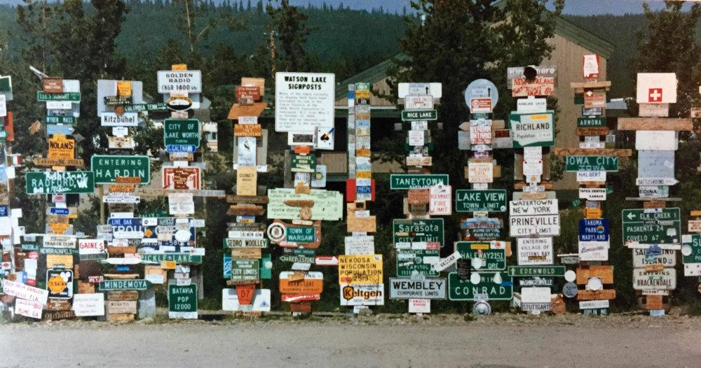 sign post forest in Watson Lake, Yukon, 1986