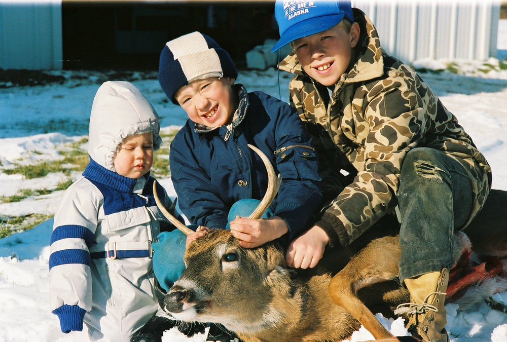 Rob, Casey, Bill with Larre's first deer on the farm