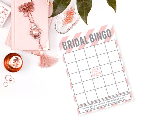 pink and gray bridal shower bingo cards