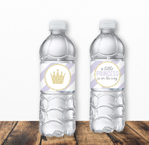 Purple And Gold Princess Baby Shower Water Bottle Label Water Bottle