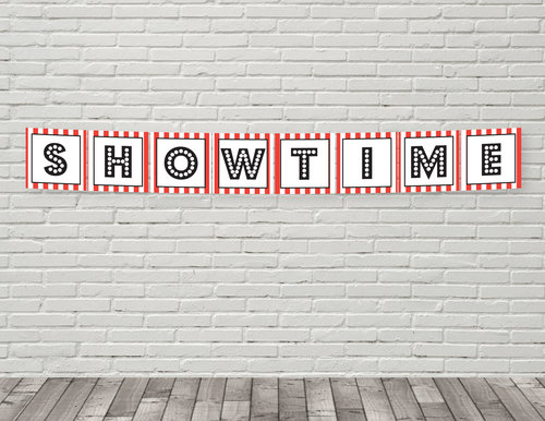 Printable Showtime Banner Birthday Banners SOS Party Printables