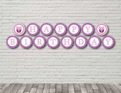 pink and purple owl happy birthday banner