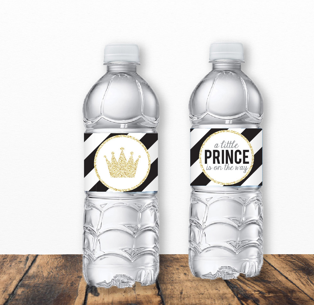 Black And Gold Prince Baby Shower Water Bottle Labels