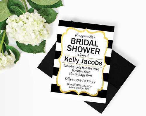 Bridal shower sos party printables black and white striped gold bridal shower invitation filmwisefo