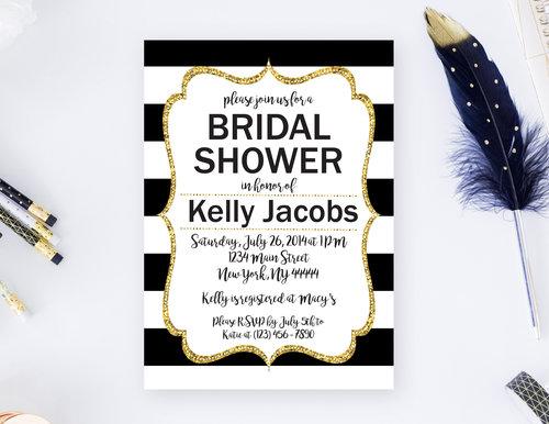 Bridal shower sos party printables black and white striped gold glitter bridal shower invitation filmwisefo