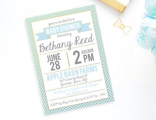 Mint blue and gold polkadot baby shower invitation baby shower mint blue and gold polkadot baby shower invitation filmwisefo