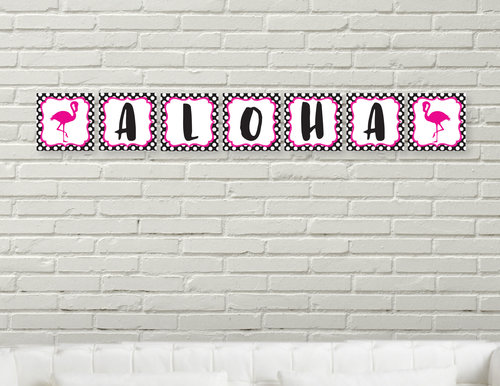 polkadot pink flamingo editable banner