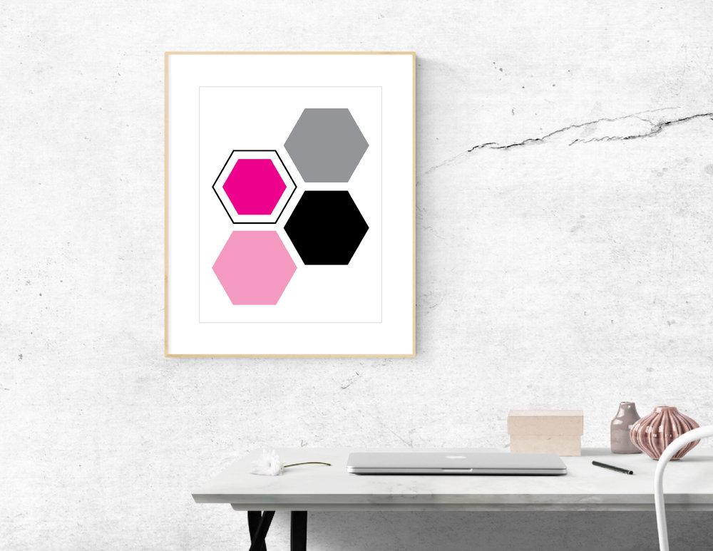 Modern Hexagon Wall Art Freebie
