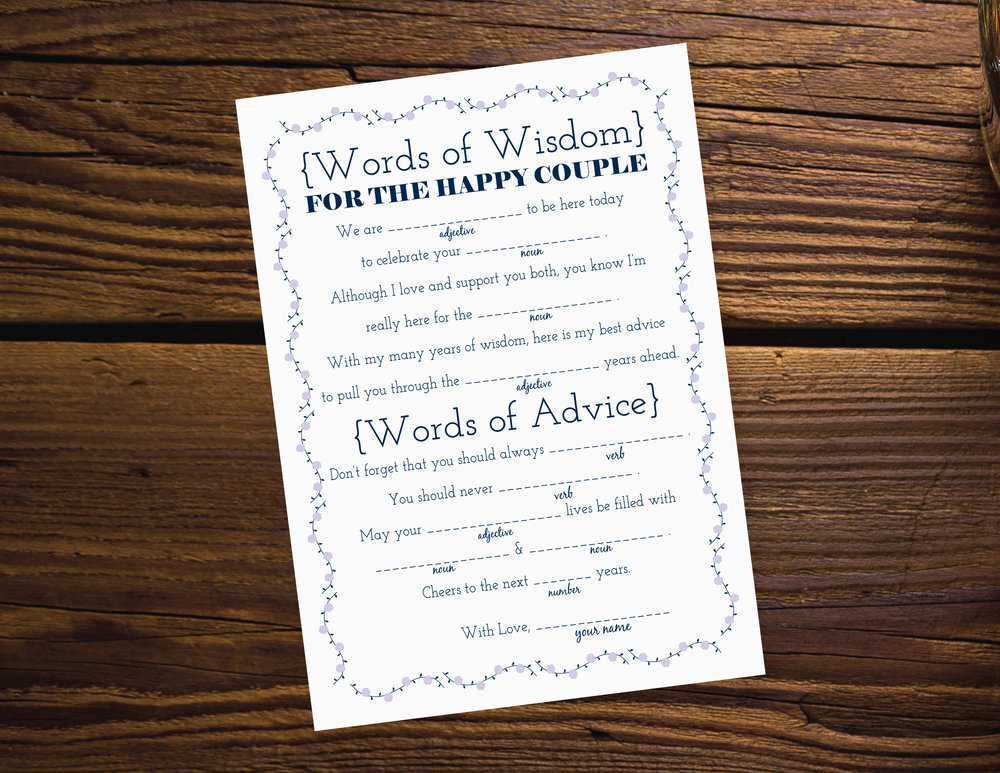 Words of Wisdom Wedding Libs Freebie