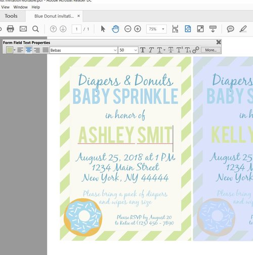 Blue diaper and donuts baby sprinkle shower invitation baby shower blue diaper and donuts baby sprinkle shower invitation filmwisefo