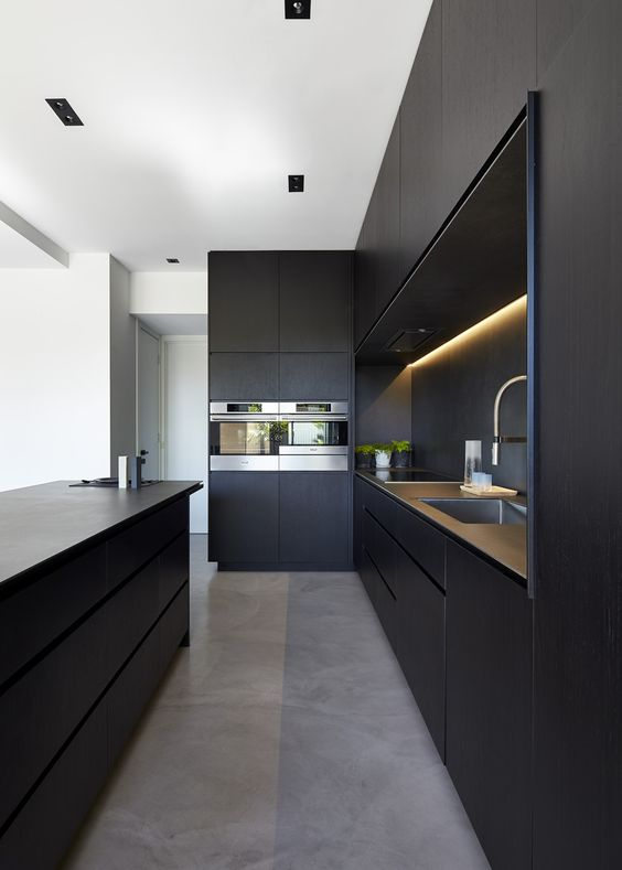Monochrome minimalist kitchen