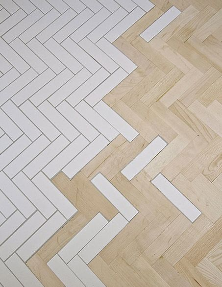 herringbone parquet and tiles
