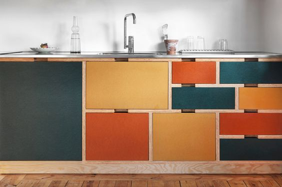 Colourful Ply wood kitchen