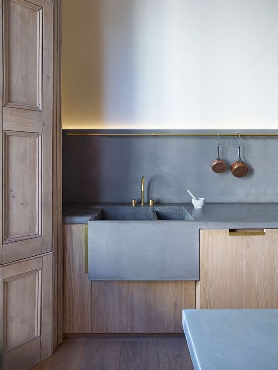Concrete kitchen sink and splashback