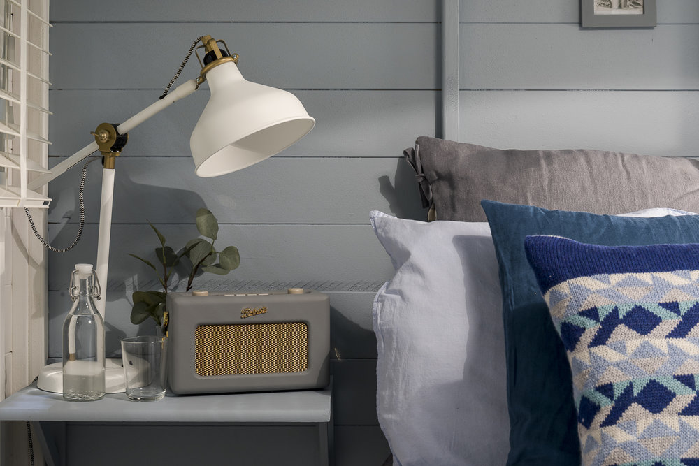 Bespoke bedside shelves painted in Driftwood Blues