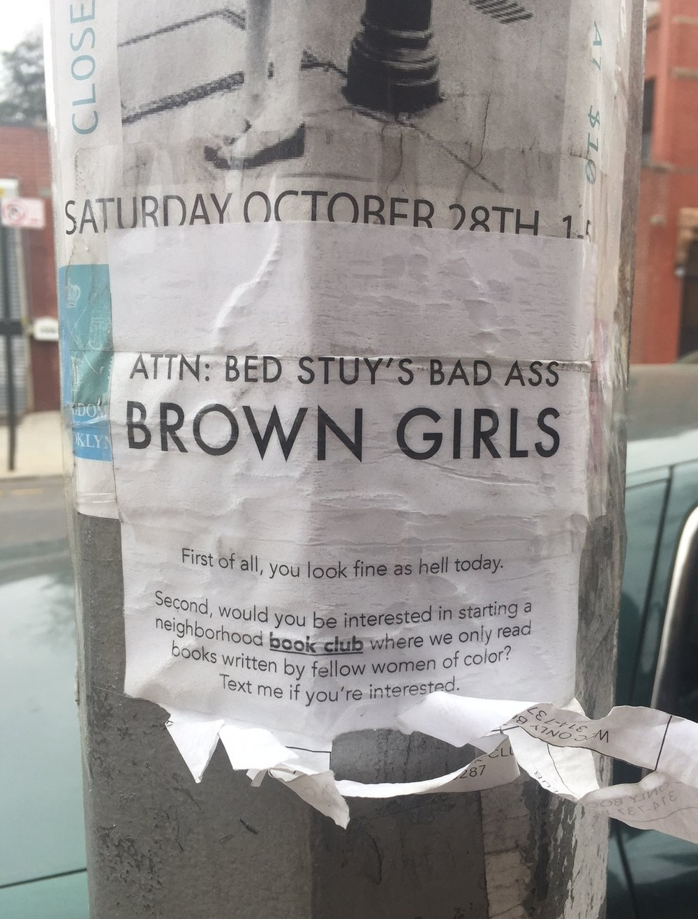 B's attention-getting flyer for BSBC, Brooklyn's hawtest book club centered around women-of-color!