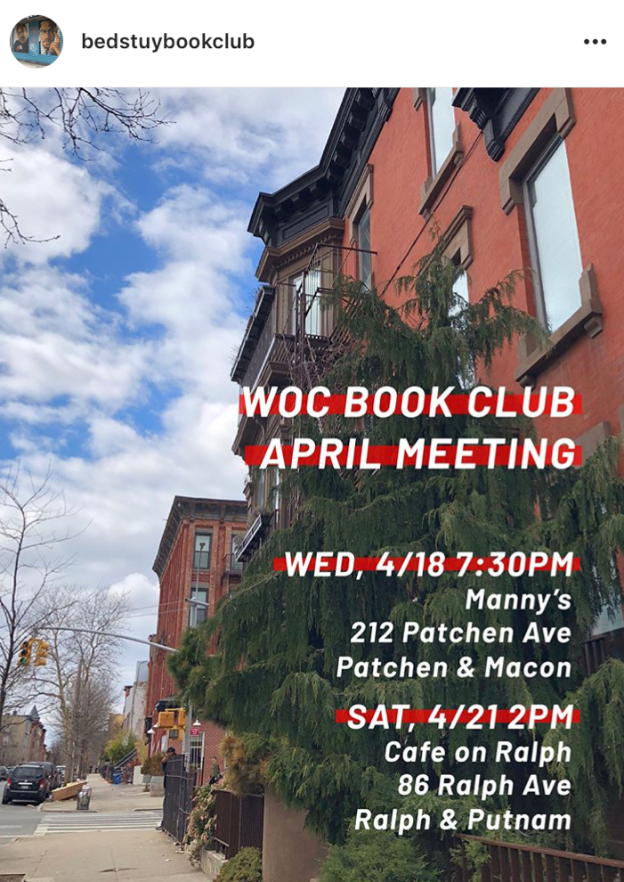 Bed-Stuy Book Club's next meeting is tomorrow! Here's the flyer.  Via BSBC's Instagram !