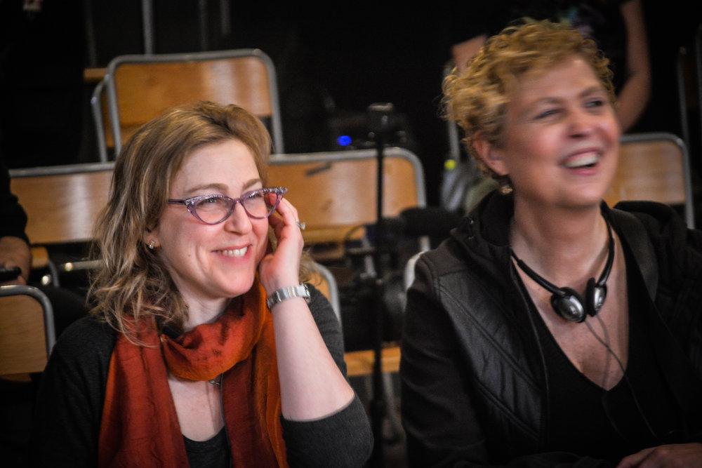 EP/Writer JEN RUDIN on set with DR. MELISSA NISHAWALA, NYU Sloan Adviser