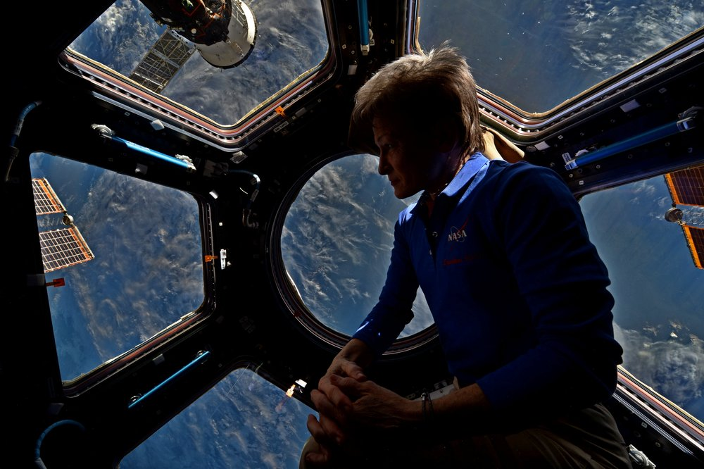 Peggy Whitson, NASA Astronaut and biochemical researcher, on the International Space Station.
