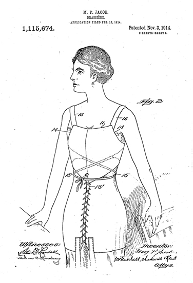 Caresse Crosby Brassiere Patent Drawing