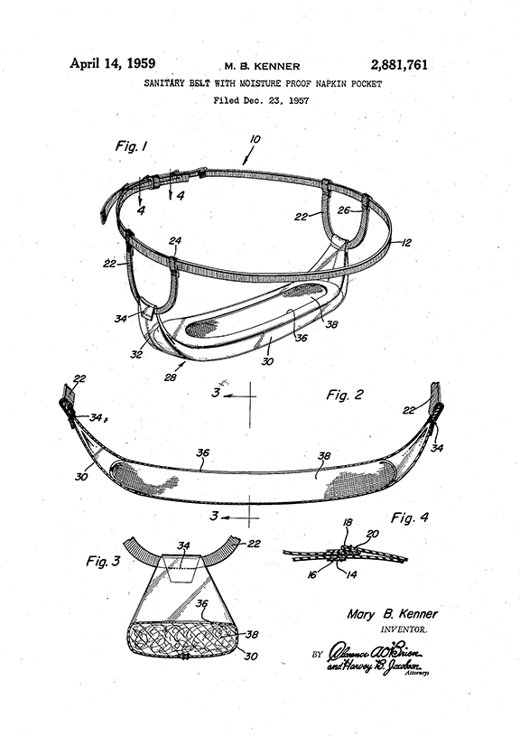 Mary Beatrice Davidson Kenner Sanitary Belt Patent Drawing