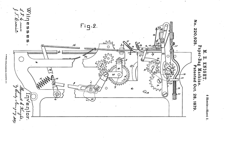 Margaret Knight, Paper Bag Folding Machine Patent Drawing