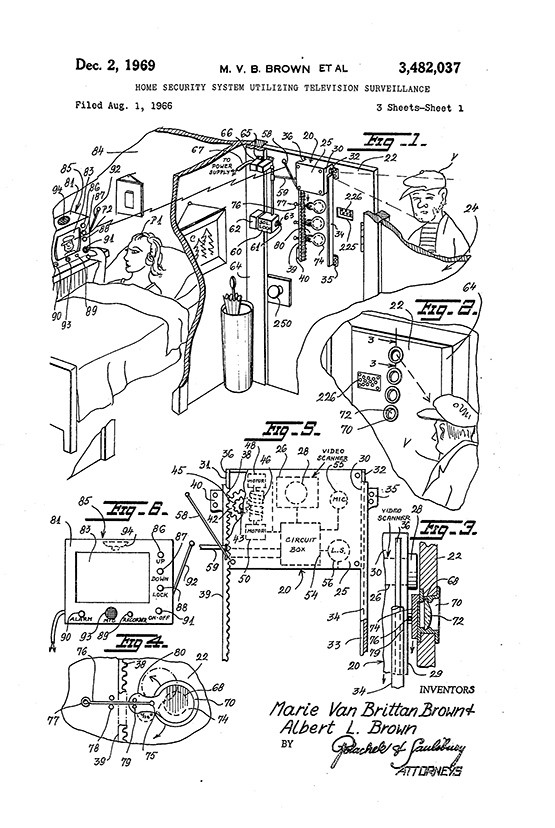 Marie Van Brittan Brown, Home Security System Patent Drawing