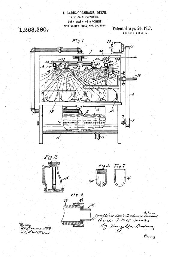 Josephine Cochrane, Dishwasher Patent Drawing