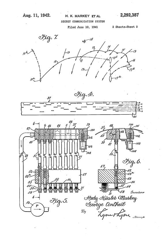 "Hedy Lamarr, ""Secret Communication System"" Patent Drawing"