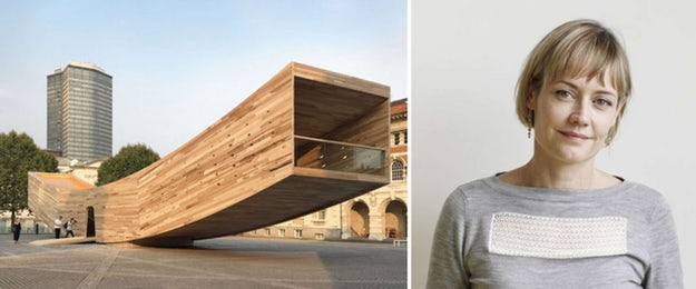 Left:  The Smile , a temporary installation at the 2016 London Design Festival by Alison Brooks Architects in collaboration with The American Hardwood Export Council (AHEC); this minimalist pavilion showcased the structural potential of    cross-laminated timber   ; images via    Alison Brooks Architects    and    Audi Urban Future Initiative   .
