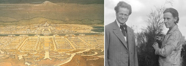 Left: Marion Mahony Griffin's proposal for the planned city of Canberra, the Australian capital; right: Mahony Griffin with her husband and collaborator, Walter Burley Griffin; images via    Australian Design Review    and    The Canberra Times