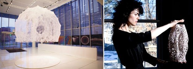 Left: Neri Oxman's silk pavilion, constructed by letting silkworms loose on a carefully designed steel frame; images via    Wikipedia    and    Architizer