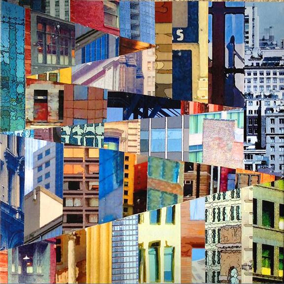 Patchwork City 11 by Marilyn Henrion, image via Saatchi Art