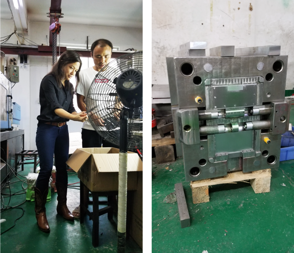 Left: René inspecting as pieces came off the projection mold line. Right: This is a mold. A mold is used to create each piece of the Renzoe Box. A large piece of solid steel is carved out with a void of the Renzoe Box piece on the interior.