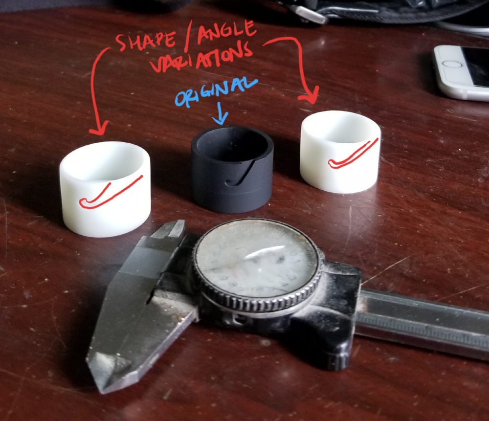 To force the brush lid to eject smoothly and easily is a matter of the screw angle. Check out the three options tested out by 3D printing the options.